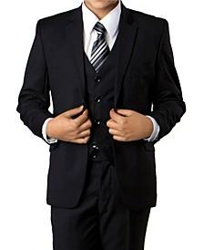 Solid 2 Button Front Closure Boys Suit, 3 Piece