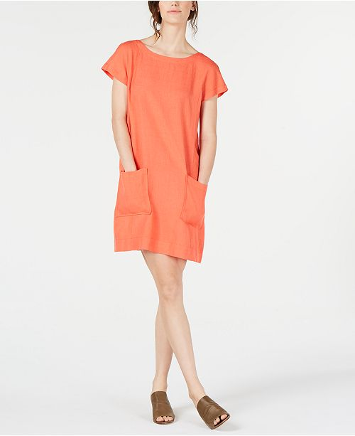 Eileen Fisher Boat-Neck Tencel®Linen Dress, Regular & Petite