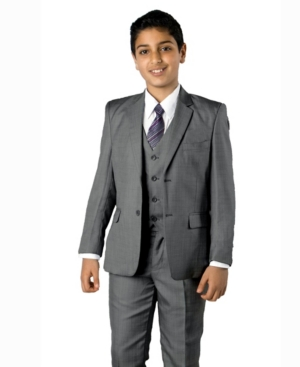 Solid Light 2 Button Front Closure Boys Suit, 5 Piece