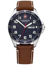Victorinox Swiss Army Men's FieldForce Brown Leather Strap Watch 42mm