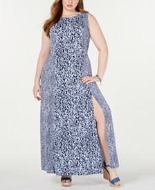 MICHAEL Michael Kors Plus Size Mixed-Print Maxi Dress