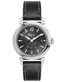 Ferragamo Men's Swiss GMT Black Leather Strap Watch 40mm