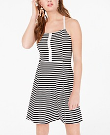 Juniors' Striped Fit & Flare Dress, Created for Macy's