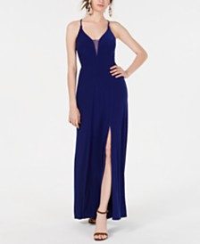 Morgan & Company Juniors' Lace-Up-Back Gown