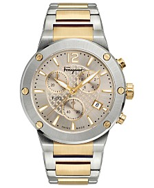 Ferragamo Men's Swiss Chronograph F-80 Two-Tone Stainless Steel Bracelet Watch 44mm