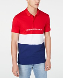 A|X Armani Exchange Men's Regular-Fit Colorblocked Logo-Print Polo Created For Macy's