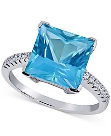 Paraiba Mystic Topaz (6 ct. t.w.) & Diamond (1/8 ct. t.w) Statement Ring in 14k White Gold