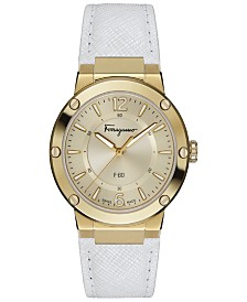 Ferragamo Women's Swiss Gent White Leather Strap Watch 34mm