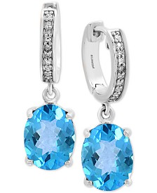 EFFY® Blue Topaz (4-1/10 ct. t.w.) & Diamond Accent Drop Earrings in 14k White Gold