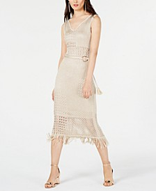 INC Petite Belted Crochet Fringe Midi Dress, Created for Macy's