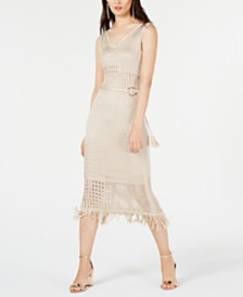 I.N.C. Petite Belted Crochet Fringe Midi Dress, Created for Macy's