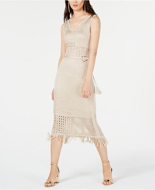 INC International Concepts I.N.C. Petite Belted Crochet Fringe Midi Dress, Created for Macy's