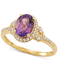 Amethyst (1-1/8 ct. t.w.) & White Topaz (1/4 ct. t.w.) Ring in 14k Gold-Plated Sterling Silver