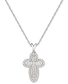 "Cubic Zircona Cross 18"" Pendant Necklace in Sterling Silver"