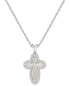 "Cubic Zircona Cross 18"" Pendant Necklace in Sterling Silver"