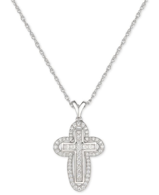 "Macy's Cubic Zircona Cross 18"" Pendant Necklace in Sterling Silver"