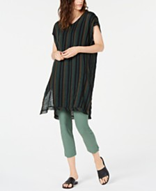 Eileen Fisher Striped Tunic & Slim Crepe Cropped Pants, Regular & Petite