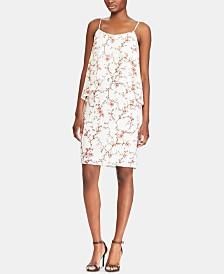 Lauren Ralph Lauren Petite Floral-Print Asymmetrical Overlay Dress