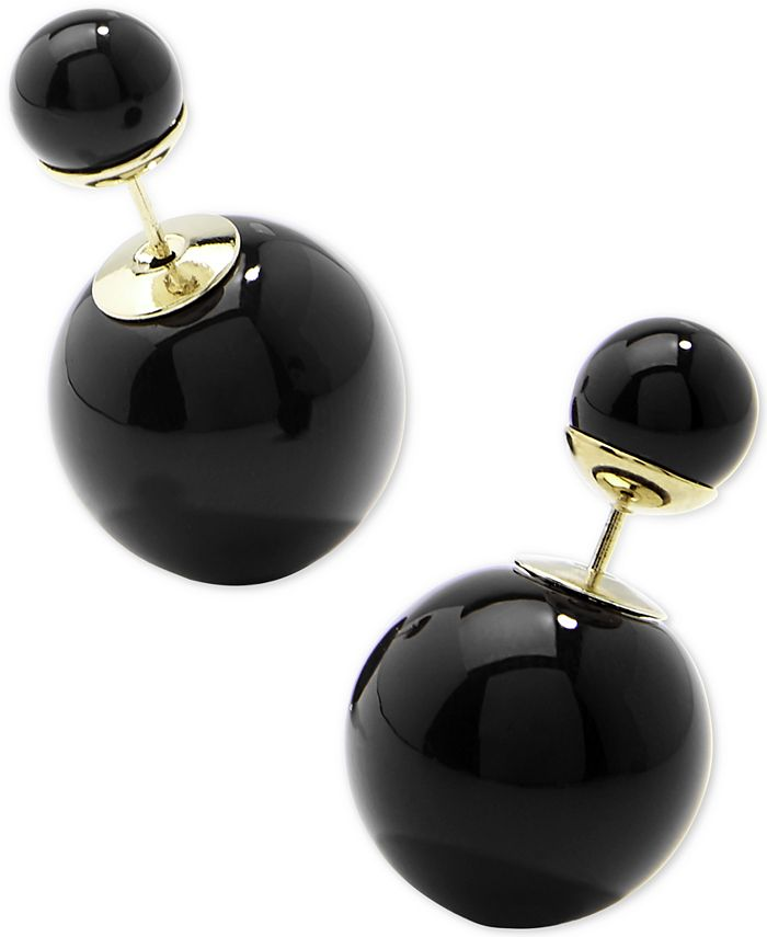 Zenzii - Gold-Tone Double Ball Front-and-Back Earrings