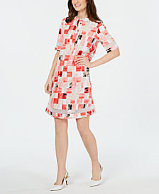 Alfani Square-Print Crochet-Trim Shirtdress, Created for Macy's