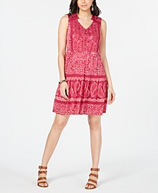 Mixed-Print Sleeveless Peasant Dress, Created for Macy's