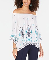 dc6fe2be9d1 Style & Co Cotton Embroidered Convertible On Off The Shoulder Top, Created  for Macy's