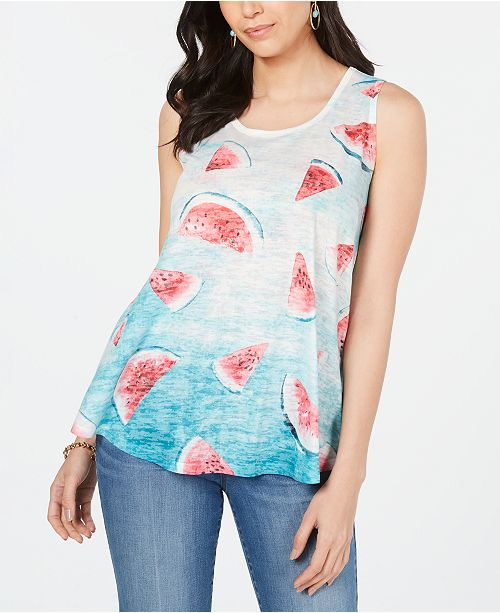 Style & Co Petite Graphic Print Swing Tank Top, Created for Macy's