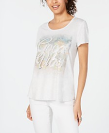 Style & Co Graphic-Print High-Low Top, Created for Macy's