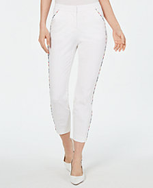 Alfani Rainbow-Trim Slim Ankle Pants, Created for Macy's