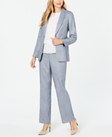 Calvin Klein One-Button Blazer, Lace-Hem Top & Pants