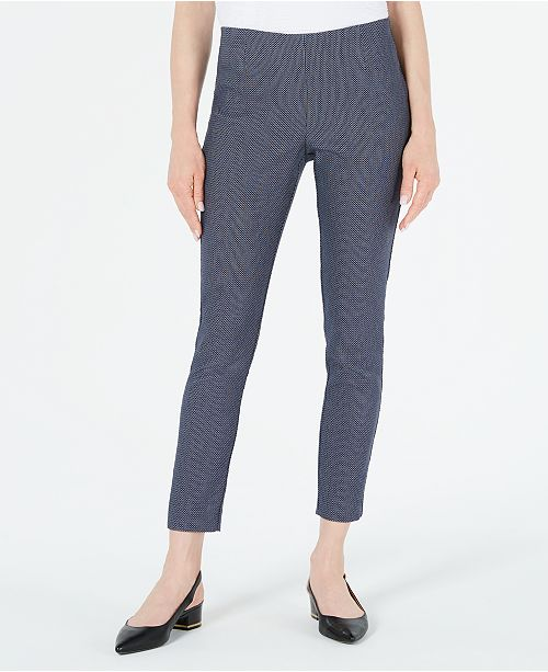 Calvin Klein Geo-Print Slim-Leg Ankle Pants