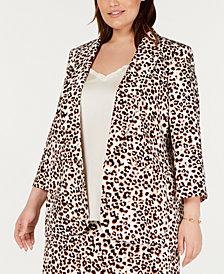 Bar III Plus Size Cheetah-Print Blazer, Created For Macy's