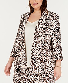 Bar III Plus Size Cheetah-Print Blazer, Created For Macy's