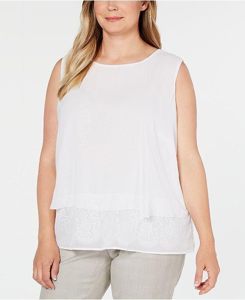 Calvin Klein Plus Size Lace-Trim Sleeveless Top