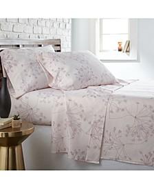 Soft Floral 4 Piece Printed Sheet Set, Queen