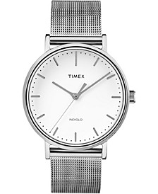 Fairfield 37mm White Dial Stainless Steel Silver Mesh Band Watch