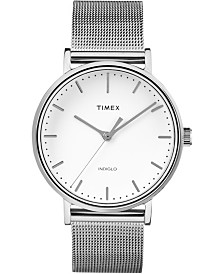Timex Fairfield 37mm White Dial Stainless Steel Silver Mesh Band Watch