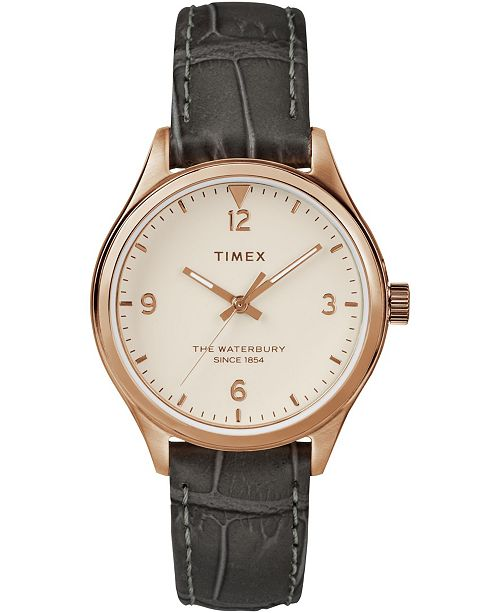 Timex Boutique Timex Waterbury Traditional 34mm Leather Strap Watch