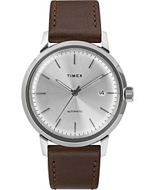 Timex Marlin Automatic 40mm Silver Dial Brown Leather Strap Watch
