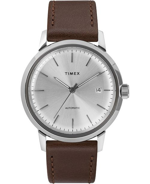 Timex Boutique Timex Marlin Automatic 40mm Silver Dial Brown Leather Strap Watch