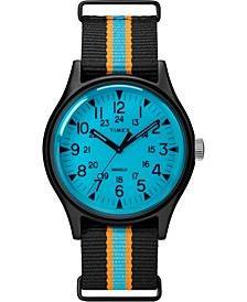 Timex MK1 Aluminum California 40mm Black with Blue/Orange Stripe Fabric Strap Watch