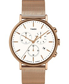 Timex Fairfield Chronograph 41mm White Dial Stainless Steel Rose Gold Mesh Band