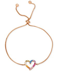 Giani Bernini Cubic Zirconia Rainbow Heart Bolo Bracelet,in 18k Gold-Plated Sterling Silver, Created for Macy's