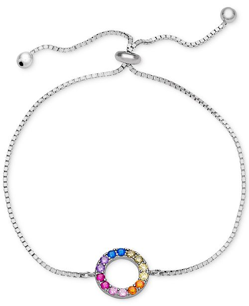 Giani Bernini Cubic Zirconia Rainbow Circle Bolo Bracelet in Sterling Silver, Created for Macy's