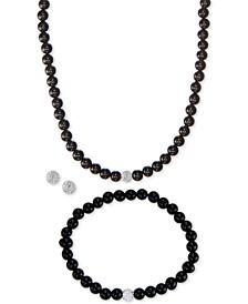 3-Pc. Set Onyx (6mm) & Crystal Collar Necklace, Bracelet & Stud Earrings in Sterling Silver