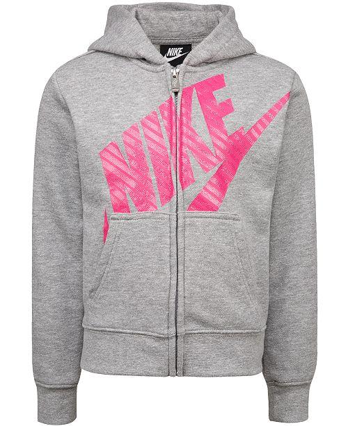 Nike Little Girls Futura Modern-Fit French Terry Full-Zip Logo Hoodie
