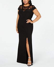 Adrianna Papell Plus Size Illusion Lace Gown