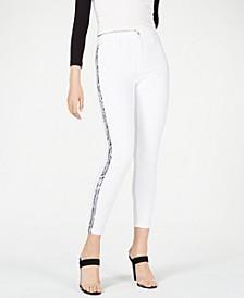 The Charlie Snake-Embossed Stripe Skinny Jeans
