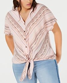 Monteau Trendy Plus Size Tie-Front Shirt