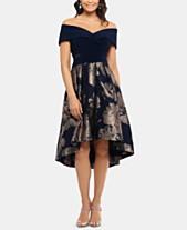 594bc73689255 Xscape Petite Off-The-Shoulder Contrast Floral Dress